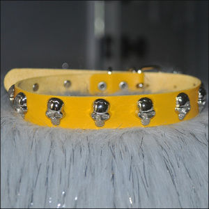 Yellow Skull Studded Leather Choker